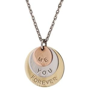 ME YOU FOREVER Necklace Pendant 14Kt Gold Silver